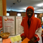 Student in orange hoodie