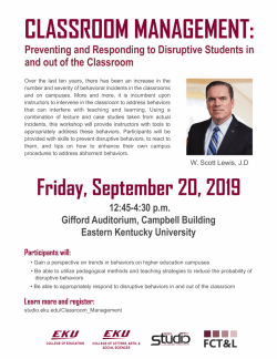 Classroom Management: Preventing and Responding to Disruptive Students in and ou